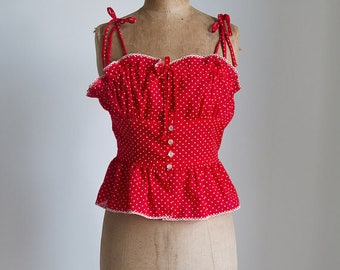 1940s Inspired polka dot ruffle top