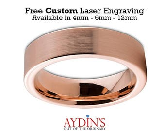 Mens and Womens Tungsten Wedding Band - 6mm Ring - 18K Rose Gold Tungsten - Pipe Cut Flat - Brushed and Polished - Man Wedding Band Tungsten