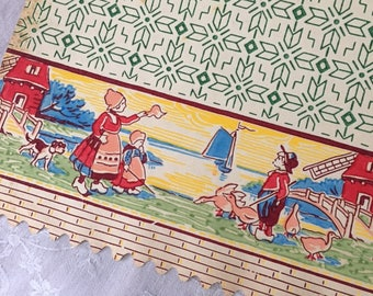 4 Wide Vintage French Unused 1940 KITCHEN SHELF Printed Paper BANDS to ornate and protect Hd Printed Dutch Children Déco Cuisine vintage