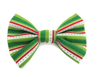 Christmas Dotted Striped Slip-On Collar Bow Tie