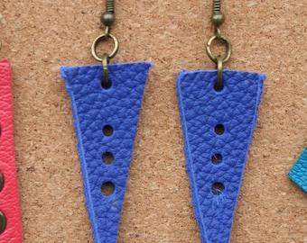 Genuine leather, blue earrings, handmade / Handmade Leather earrings