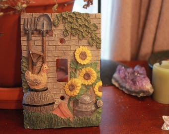 Vintage Lightswitch Plate Cover - Cottage Chic - Farmhouse - Cottage - Sunflowers - Chicken - Rustic - Decor - Home - Garden - Kitsch