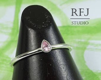 Pear Cut Lab Pink Diamond Silver Ring, Teardrop Pink Cubic Zirconia 3x2 mm Dainty Sterling Silver CZ Ring Pink Diamond Stacking Classic Ring
