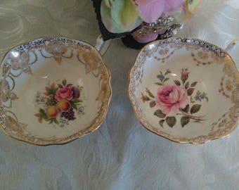 Beautiful vintage pair of Paragon cabinet tea cups pink rose and fruit pattern