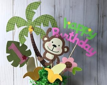 Girl's monkey birthday centerpiece, safari themed  party, jungle birthday party, girl's 1st birthday party, zoo animals centerpiece