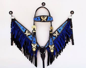 Western Barrel Trail Horse Blue Fringe Gold Butterfly Bridle Headstall Breast Collar Leather Tack Set Real Swarovski Crystals