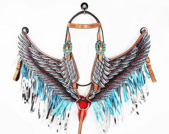 Handmade Angle Wings Turquoise & Silver Fringe Bling Leather Hand Painted Headstall Western Horse Trail Bridle Breast Collar