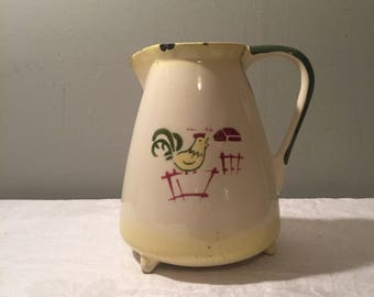 Vintage Enamel Pitcher - Chippy French Enamel Pitcher with Farm Motif - Rooster Decor