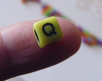 50x Alphabet Beads, 6mm Letter Beads, Plastic Letter Beads, Acrylic Beads, Alphabet Cube Beads, Colorful Letter Beads, Square Letter Beads