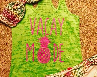 Vacay mode ladies pineapple tank top