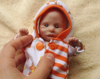 "OOAK polymer clay baby girl art doll hand sculpted by ""MvltinyArtcreations"""