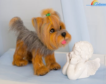 Needle felted yorkshire terrier, Needle felted animal, Pet memorial Needle felted dog Yorkie Custom pet portrait Needle felting Felting wool