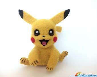 Pokemon Pikachu, Needle felted pokemon, Pokemon, Wool toy, Felted sculpture, Pokemon gifts, Needle felt, Cartoon hero, Home decor, Felt