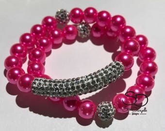10mm Pink Glass Pearl Beaded Bracelet Set with Pave Crystal tube and accents