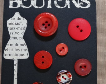 Red buttons set of 8 / set of 8 red buttons