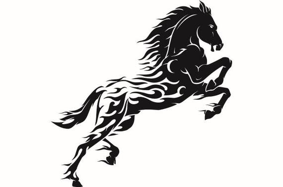 horse 14 black stallion jumping riding tribal fire mane