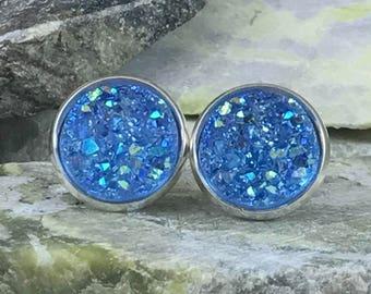 Blue Druzy Earrings - Druzy - Blue Earrings - Bridesmaid Gift - Jewelry - Stud Earrings  - Blue - Druzy Earrings - Druzy Jewelry - Drusy -