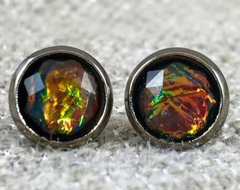 Black Fire Opal Earrings - Bridesmaid Gift - Black - Opal Earrings - Clip On Earrings - Fire Opal Jewelry - Opal Jewelry - Earrings - Opal