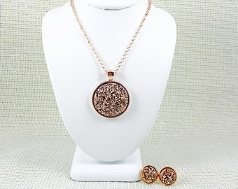 Rose Gold Druzy Jewelry Set - Bridesmaid - Necklace and Earring Set - Rose Gold - Rose Gold Jewelry - Gift Sets - Druzy - Wedding Jewelry -