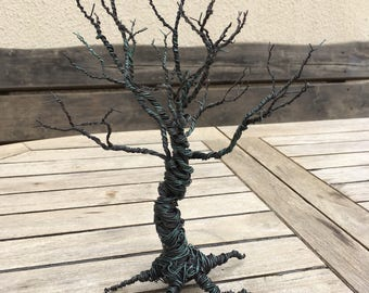 Handcrafted Twisted Wire Tree Sculpture