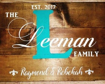 Wedding Gift Custom Family Name Sign Monogram Rustic Wood Sign Canvas Wall Art - Wedding, Anniversary Gift, Housewarming, Valentine's Day