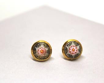 Boho Ear Studs, Boho Earring Studs, Boho Small Studs, Gold Round Studs, Stud Floral Earrings,  Gold Stud, Small Studs, Tiny Studs, Studs