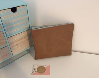 Clutch or makeup in camel color leather pouch