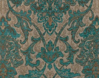 Fabric Sample-Upholstery Fabric, Drapery Fabric, Tuscan Fabric, Chenille Fabric, Turquoise Damask/Jacquard Fabric, Traditional Fabric