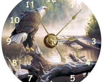 American Bald Eagle clock printed on a cd disc can be personalised plus stand