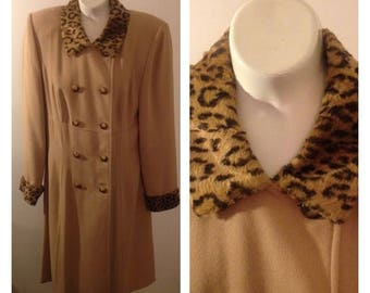 On Sale Lovely Kasper Tan with Leopard Print Collar and Cuffs