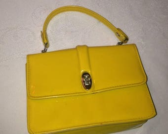 On Sale Adorable Girls Tiny Vintage Yellow Patent Leather Handbag