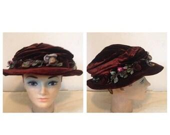Anniversary Sale Antique Victorian Brown Velvet Hat