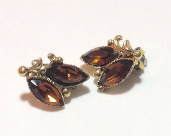 Vintage Amber Stone Clip Earrings