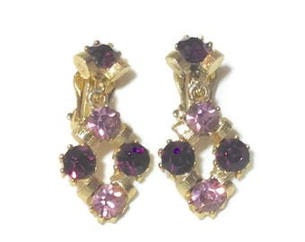 Vintage Purple Rhinestone Clip Earrings