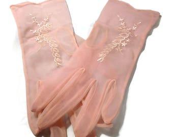 Vintage Pink Sheer Nylon Gloves