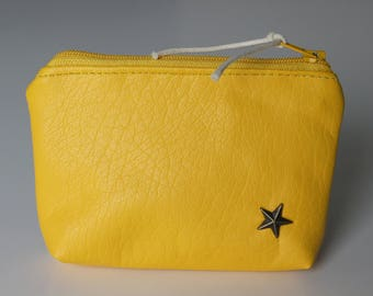 Coin purse / yellow faux leather card holder