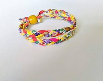Brightly coloured Liberty Print fabric bracelet