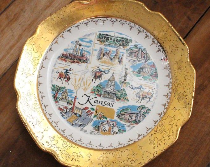 Vintage Kansas Commemorative Plate