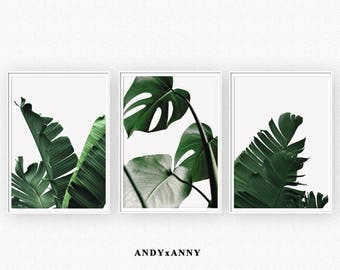 Leaf Print Set of 3, Monstera Leaf Print, Tropical Leaves, Green Wall art, Foliage Green Leaves Wall Art, Palm Leaf Print, Digital Download