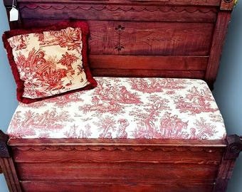 Hand Made Victorian-Style Red Floral Entryway Bench