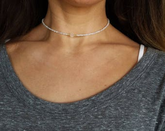 Opal white beaded choker necklace