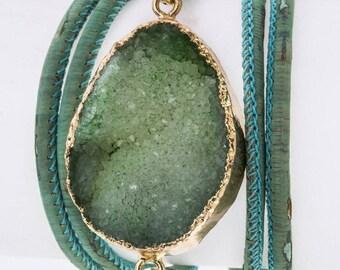 Druzy Charm & Leather Wrapped Bracelet