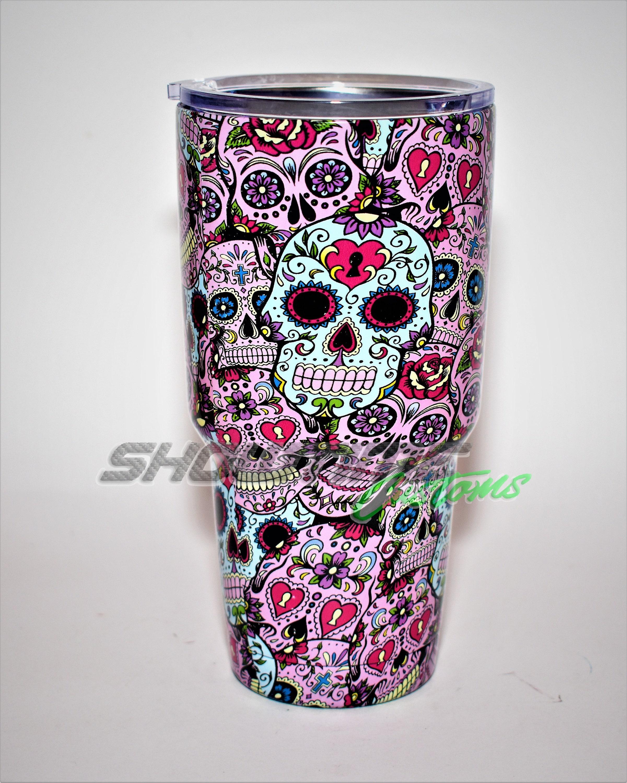 Personalized Sugar Skull Yeti Tumbler Yeti Gifts Hydrodipped - Sugar skull yeti cup