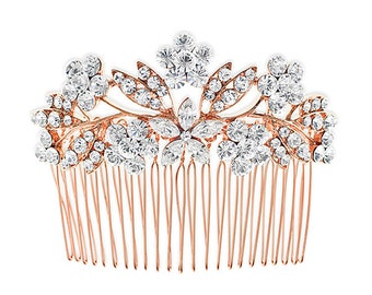 Rose Gold Color Floral Crystal Hair Comb #10121695