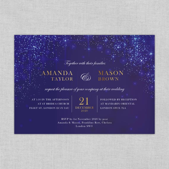 Navy wedding invite suite, Blue wedding invite set, Winter wedding invitations, Christmas wedding invitations, navy and white invitations A5