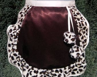Maid 686 with his bow tie, dark chocolate satin ruffle F fur leopard with 2 tassels