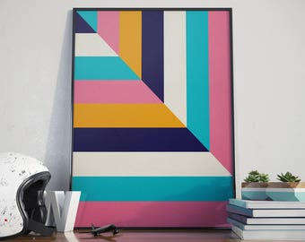 Colourful Stripe Poster Print Wall Art Home Décor. Home, Living, Kitchen, Bedroom