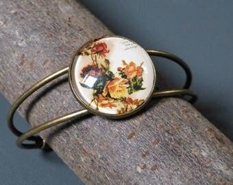 Cabochon flower handwriting bracelet