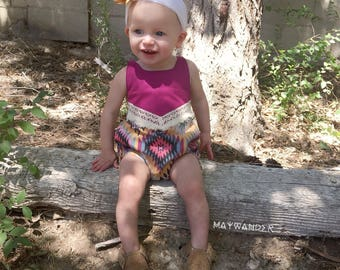 Baby Girl, Romper, Onesie - Bohemian Summer Romper in Plum and Mustard with Crochet Lace and Fringe