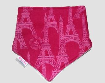 Baby Bandana Bib Pink Eiffel Tower
